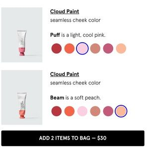 Glossier Makeup - LAST SET❗️Cloud Paint Duo: Beam & Puff